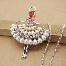 Fashion Gold plating Crystal terpsichorean sweater chain long necklace CC0339