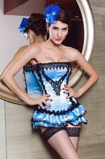 Burlesque Showgirl Light Blue Black Satin Corset Skirt Costume Small 5127