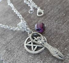 "Silver Goddess & Pentagram 20"" Pendant Necklace, Wicca Pagan with purple Onyx"