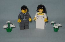 NEW LEGO WEDDING BLACK HAIR BRIDE AND GROOM MINIFIGS WITH DK BLUISH GRAY JACKET