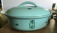 Vtg Dru Holland Green Tulip Enamel Cast Iron Dutch Oven Covered Casserole #28