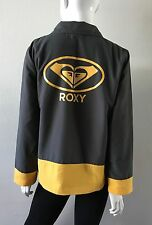 Roxy Jacket Snap Front Logo Back Gray/Yellow Size Medium