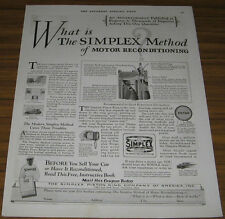 1928 VINTAGE AD~THE SIMPLEX METHOD OF MOTOR RECONDITIONING