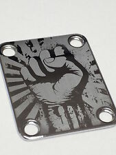Chrome Fist Engraved Guitar Neck Plate fits Fender tele/strat/squier