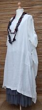 LAGENLOOK  OVERSIZED  LINEN BEAUTIFUL 2 PCS DRESS+OVERTOP*WHITE* BUST UP TO 50""