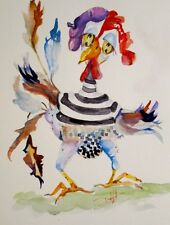 Delilah French hen watercolor painting art chicken whimsical bird original 12x9