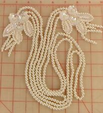 Beaded two flower applique connected by 3 pearl strands iridescent sequins ivory