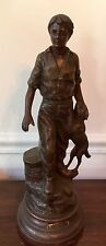 Vintage Statue FERMIER Boy and Dog After Mathurin MOREAU Sculptor?