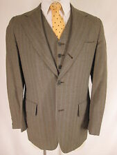 Vintage Spauldings Mens Grey Stripe Three Piece 3 Btn Sack Suit 36R Trad Ivy