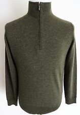 $850 LORO PIANA 100% Cashmere Roadster Pull Light 1/2 Zip Sweater 48 Euro Small