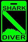 Day-Glo Green Shark Diver w/ Shark Bite SCUBA Diving Luggage/Gear Bag Tag - New