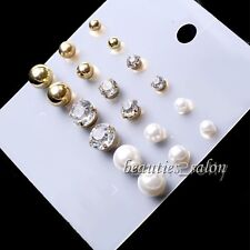 9 Pairs/Set Pearl Rhinestone Earrings Multisize Ball Women Ear Stud Jewelry