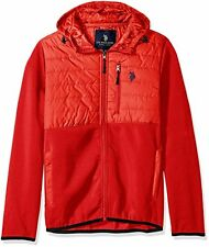 [78 68] U.S. Polo Assn. Men's Mixed Channel Quilt and Fleece Hoodie Red Large