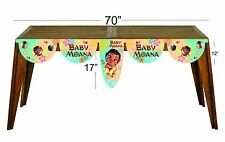 Baby Moana happy birthday party decoration supplies table banner