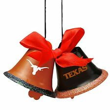 Texas Longhorns Christmas Tree Holiday Ornament New - 2 Metal Bells with bow