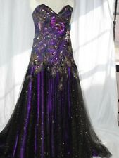 NWT Mac Duggal Style # 4266 OM Purple Peacock Pageant Gown Size 14 Formal Dress