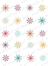 20 CHRISTMAS NAIL DECALS * RETRO SNOWFLAKES  *  WATER SLIDE NAIL DECALS