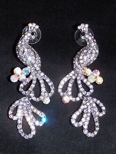 BRIDAL SILVER W. CLEAR & AB CRYSTAL PEACOCK DROP EARRINGS