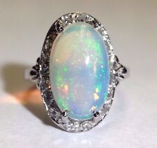 Fine Art Deco Platinum Diamond and 5CT Glittering Opal Ring Size 6