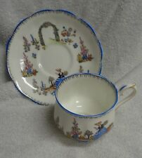 Royal Albert Dainty Black Outline Blue Edge Cup And Saucer