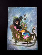 Vintage Unused Xmas Greeting Card Beautiful Russian Lady with Presents in Snow