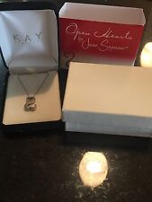 Jane Seymour Open Heart Sterling Silver & Diamond Necklace w/ Original Box!