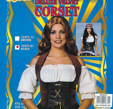 Ladies Brown Velvet Fitted Corset Accessory Fancy Dress Costume Wench Outfit New