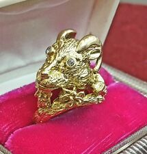 VINTAGE RAMS HEAD / BILLY GOAT 14K & DIAMOND RING SIZE 5 1/2  ~ 14.8 GRAMS