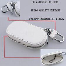 White Fashion Zipper Genuine PU Leather Car Key Bag Case Holder Cover fit HONDA