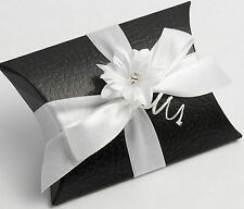 50 BLACK PELLE BUSTINA/PILLOW FAVOUR FAVOR BOXES GIFT BOX