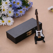 Mini Electric Guitar Miniature Wooden Musical Instruments Model + Support + Case