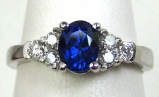 CERTIFIED Blue Sapphire Ring SI1 Diamond 14K white gold ELITE Kashmir COLOR
