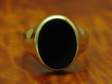 14kt 585 GOLD RING MIT 6,00ct ONYX BESATZ / ONYXRING / GOLDRING / HERRENRING