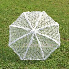 "34"" Elegant White Handmade Lace Parasol Wedding Bridal Party Sun Umbrella"