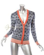 Tory Burch Navy Blue Orange Diamond Print Cardigan Size M