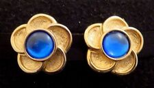 """Vintage Paolo Gucci Blue Cabochon Ctr Flower Clip Earrings Gold Tn 1.25"""" Signed"""