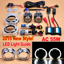 "2.5"" HID Projector Lens Kit Headlights Phare LED Light Guide Angel Eye AC 55W"