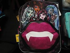 "Monster High Kiss the Ghoul Lip Zip 16"" Girls Backpack  NWT!"