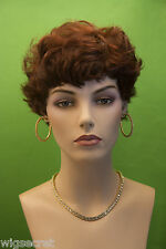 Deep Red Short Straight Wavy Pixie Wigs