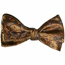 """New! Hand Made. 100% Silk. GOLD Paisley SELF TIE Bow Tie. 2.5"""" wide"""