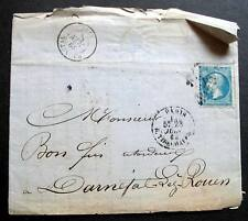 FRANCE  1864 STAMPLESS COVER --  PARIS TO DARNETAL