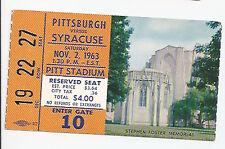 1963 Pittsburgh vs Syracuse original college football ticket stub