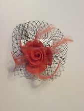 NEW Salmon red Small hessian net fascinator clip and pin wedding prom races