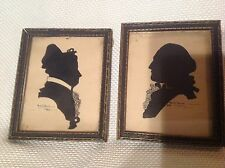 Pair of 1930 Framed Silhouettes of George & Martha Washington-1930 ANN E. DAVIS