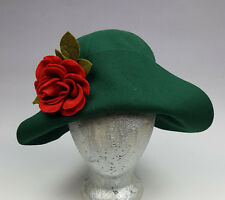 Vintage womens hat sporty folded brim green felt with red rose Don Anderson