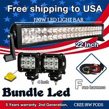 "24inch Led Flood Spot Work Light Bar 24""+ 2x 4"" Cree Pods Offroad Jeep Truck 20"""