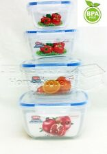 4 PC Air Tight & Lock Food Storage Box Container Set Stackable Microwaveable SQ