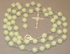 Prayer Rosary GLOW-IN-THE-DARK Beads GREEN Detailed Silver Tone Crucifix KIDS!!