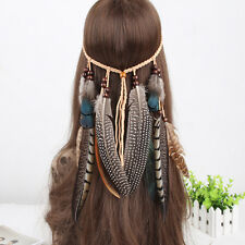 Women Hippie Indian Feather Headband Hairband Carnival Headdress Bonfire