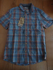 FAT FACE BLUE ORANGE CAMBER MADRAS CHECKED SHIRT XS MEN TEEN SHORT SLEEVED